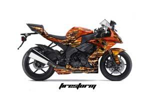 Kawasaki ZX10 Ninja Graphic Kit - 2008-2009 Firestorm Orange