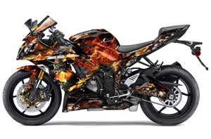 Kawasaki 636 ZX6-R Ninja Graphic Kit - 2013-2016 Firestorm Black