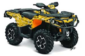 Can Am Outlander XMR / MAX / XT ATV Graphic Kit - 2006-2011 Silver Star - -Silver Haze Yellow
