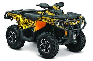 Can Am Outlander XMR / MAX / XT ATV Graphic Kit - 2006-2011 Motorhead Mandy Yellow