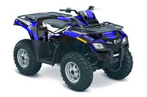 Can Am Outlander EFI 500 / 650 ATV Graphic Kit - 2012-2015 Carbon X Blue