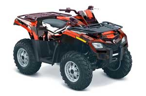 Can Am Outlander EFI 500 / 650 ATV Graphic Kit - 2012-2015 Carbon X Red