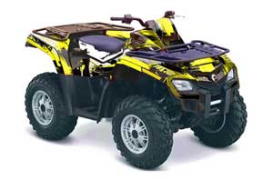 Can Am Outlander EFI 500 / 650 ATV Graphic Kit - 2012-2015 Carbon X Yellow