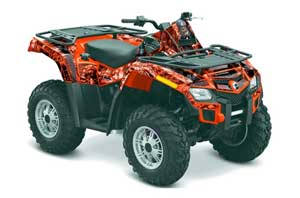 Can Am Outlander EFI 500 / 650 ATV Graphic Kit - 2012-2015 Mad Hatter Red