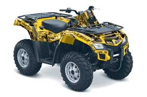 Can Am Outlander EFI 500 / 650 ATV Graphic Kit - 2012-2015 Mad Hatter Yellow