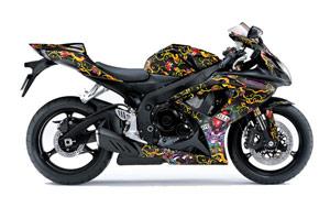 Suzuki GSXR 600 / 750 Graphic Kit - 2006-2007 Ed Hardy Love Kills Black