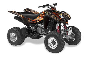Kawasaki KFX 400 ATV Graphic Kit - 2003-2008 Firestorm Black