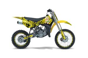 Suzuki RM 85 Dirt Bike Graphic Kit - 2002-2015 Motorhead Mandy Yellow