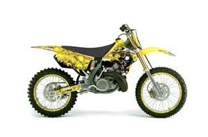 Suzuki RM 125 Dirt Bike Graphic Kit - 1996-1998 Reaper Yellow