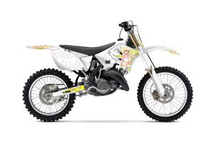 Suzuki RM 250 Dirt Bike Graphic Kit - 2001-2009 Motorhead Mandy White