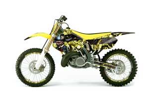 Suzuki RM 250 Dirt Bike Graphic Kit - 1999-2000 Mad Hatter Yellow