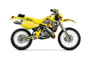 Suzuki RMX 250 Dirt Bike Graphic Kit - 1989-1998 Mad Hatter Yellow