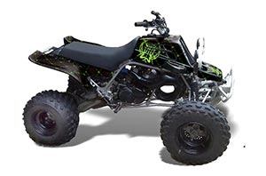 Honda TRX 400EX ATV Graphic Kit - 1999-2007 Mad Hatter Black Silver Star Reloaded