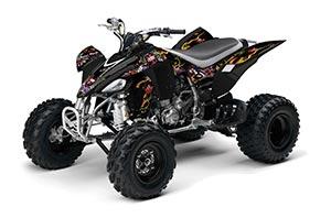 Yamaha YFZ 450 ATV Graphic Kit - 2004-2014 Ed Hardy - Love Kills Black