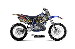 Honda CRF250 R Dirt Bike Graphic Kit - 2004-2013 Tribal Flames Red Number of the Beast