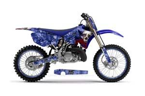 Suzuki RM 250 Dirt Bike Graphic Kit - 2001-2009 Checkered Skull Yellow Bone Collector