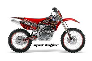 Yamaha YZ250F / YZ450F Dirt Bike Graphic Kit - 2006-2009 Mad Hatter Red