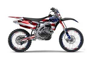 Yamaha YZ250 F 4 Stroke Dirt Bike Graphic Kit - 2010-2013 Stars and Stripes Red White & Blue