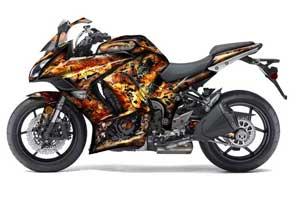 Kawasaki ZX1000 Ninja Graphic Kit - 2010-2013 Firestorm Black