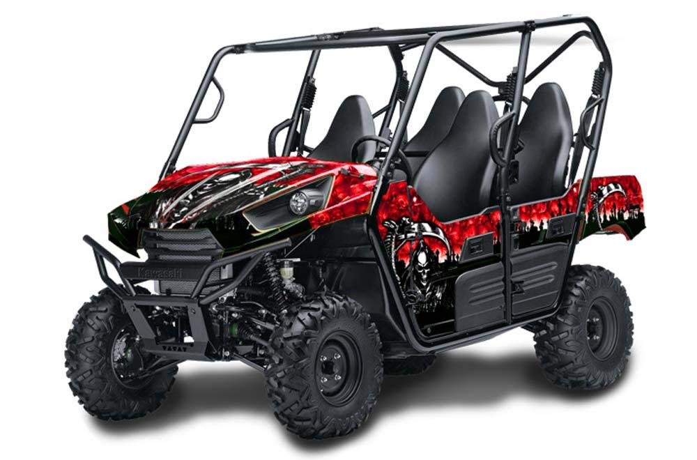 Kawasaki Teryx 800 4 Door Graphics Reaper Red Side By