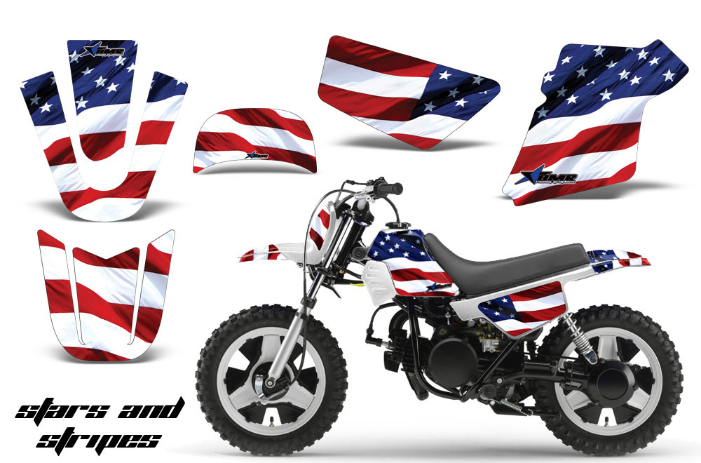 Yamaha PW50 Dirt Bike Graphic Kit - 1990-2018 Stars and Stripes Red White & Blue