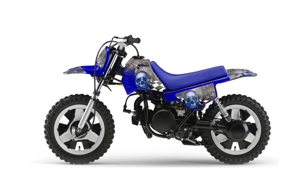 Yamaha PW50 Dirt Bike Graphic Kit - 1990-2018 Checkered Skull Blue