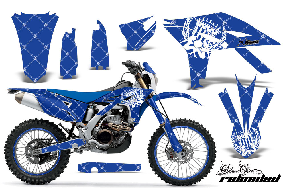 Yamaha WR450F Dirt Bike Graphic Kit - 2007-2011 Silver Star - Reloaded Blue