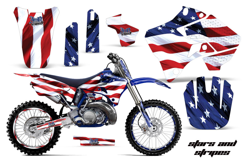 Yamaha YZ125 2 Stroke Dirt Bike Graphic Kit - 1996-2001 Stars and Stripes Red White & Blue