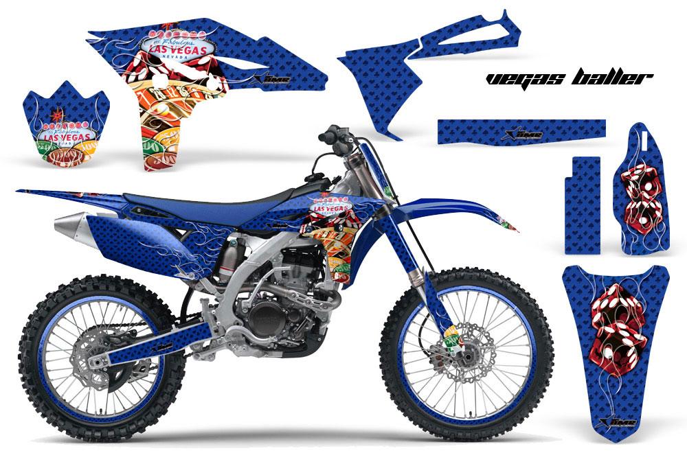 Yamaha YZ250 F 4 Stroke Dirt Bike Graphic Kit - 2010-2013 Vegas Baller Blue